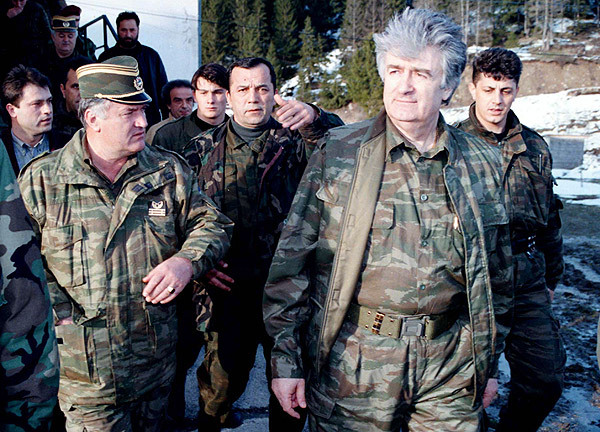 Ratko Mladic, left,  and Bosnian Serb wartime leader Radovan Karadzic