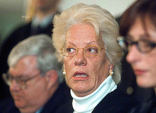 Swiss-born Carla Del Ponte at a 2001 press conference in Belgrade.