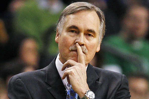 Mike D'Antoni is shown during a Lakers-Celtics game.