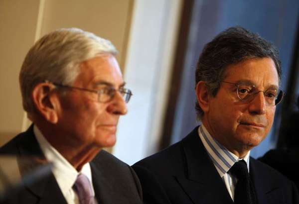 Eli Broad, left, and Jeffrey Deitch at the announcement of his appointment as MOCA director in January 2010.