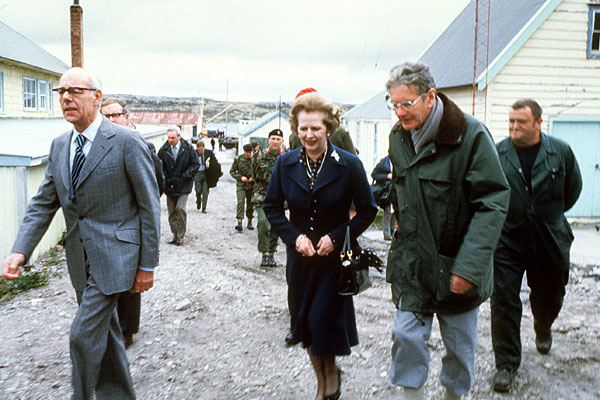 Margaret Thatcher tours the Falkland Islands in 1983.