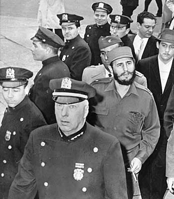 New York police escort Fidel Castro for his visit with the city's mayor.