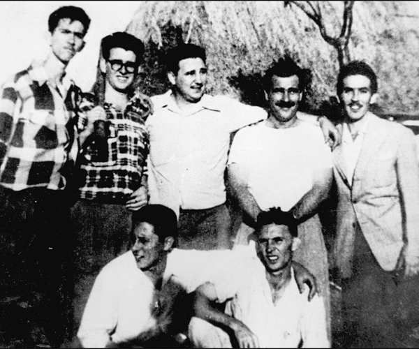 "From left, Antonio ""Nico"" Lopez, Abel Santamaria, Fidel Castro, Jose Luis Tasende and Ernesto Tizol stand with comrades in Los Palos, Havana province, during preparation for the attack on the Moncada barracks."
