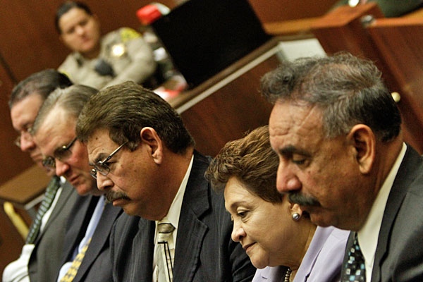 Current and former City Council members Luis Artiga, George Cole, George Mirabal, Teresa Jacobo and mayor Oscar Hernandez appear in court in February 2010.