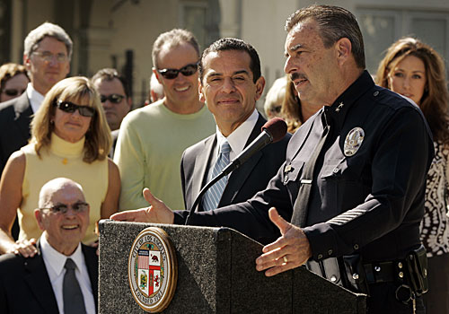 LAPD Deputy Chief Charlie Beck, with Los Angeles Mayor Antonio Villaraigosa at his side and his family nearby, talks about his selection by the mayor to head the LAPD.