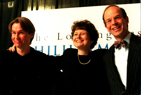 Deborah Borda at an introductory news conference, standing between Esa-Pekka Salonen, left, the Philharmonic's music director, and Barry Sanders, president of the Los Angeles Philharmonic Assn.