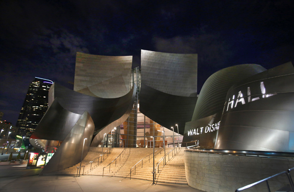 Disney Hall at night.