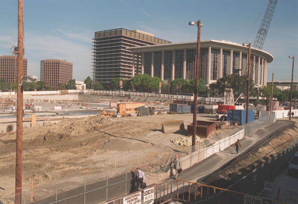 The Disney Hall construction site.
