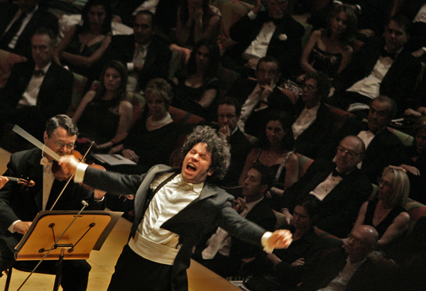 Gustavo Dudamel conducts the Los Angeles Philharmonic for the first time as its music director.