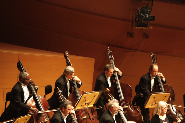 Cameras capture the Los Angeles Philharmonic's first live broadcast.