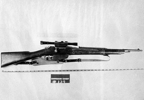 This bolt–action, clip–fed rifle, found on the sixth floor of the Texas School Book Depository building in Dallas, is identified as the weapon used to assassinate Kennedy. (September 1964)