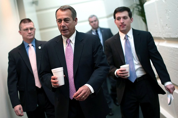 House Speaker John Boehner walks to a meeting in the Capitol.