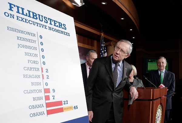 Senate Democrats, led by Majority Leader Harry Reid, celebrate their filibuster changes.