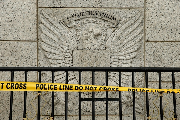 Police tape blocks off the World War II Memorial in Washington, D.C. during the government shutdown.