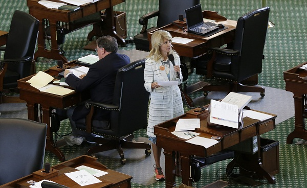 Wendy Davis, seen during her filibuster against abortion restrictions.