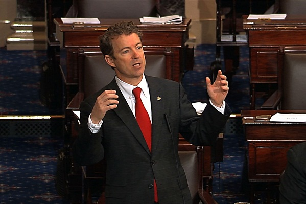 Sen. Rand Paul delivers his filibuster from the Senate floor.