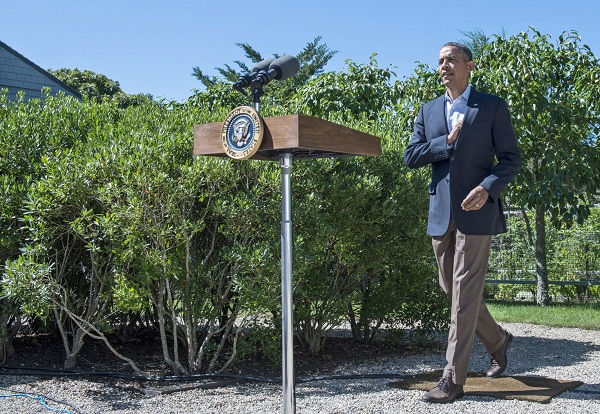 Obama speaks about Egypt during a vacation in Martha's Vineyard.