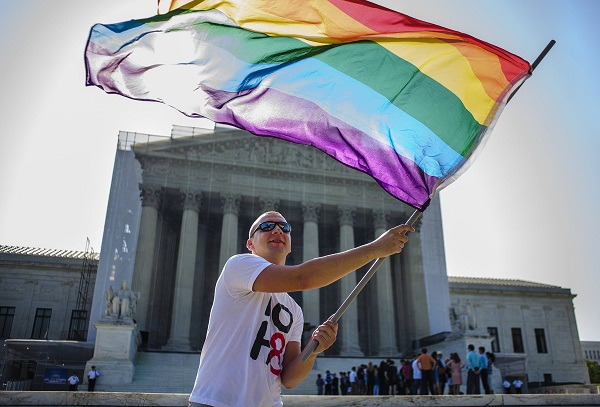A gay rights demonstrator outside of the U.S. Supreme Court.