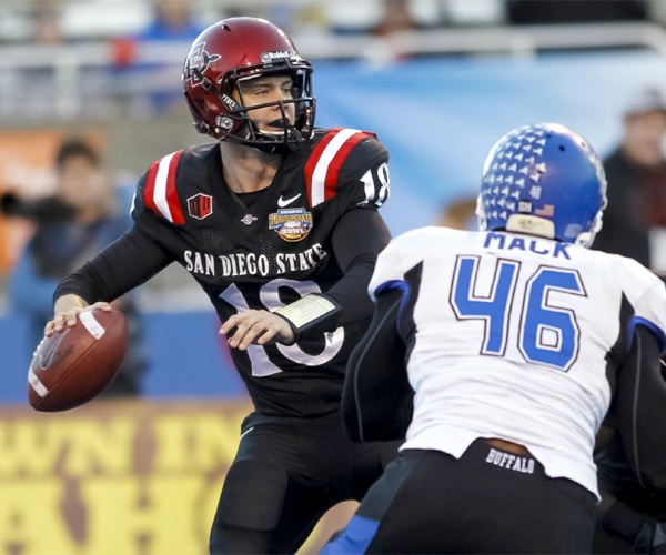 San Diego State quarterback Quinn Kaehler threw for 211 yards and two touchdowns in the Aztecs'  win over the Buffalo Bulls, 49-24, in the Famous Idaho Potato Bowl.