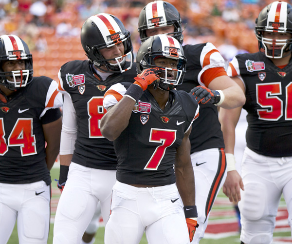 Oregon State receiver Brandin Cooks (7) celebrates with teammates after making a touchdown reception against Boise State in a 38-23 victory.