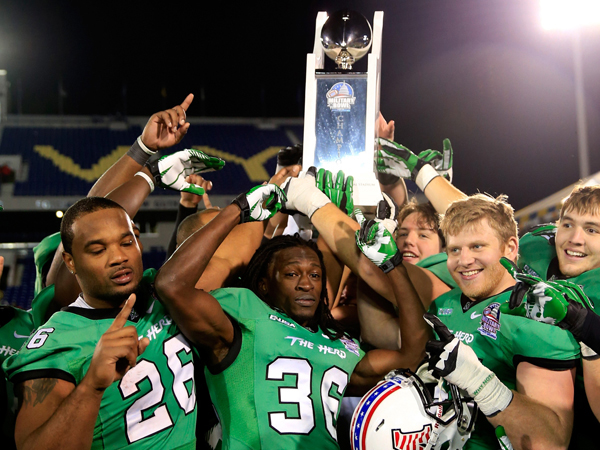 Marshall celebrates its 31-20 victory over Maryland in the Military Bowl at Navy Marine Corps Memorial Stadium in Annapolis, Md.