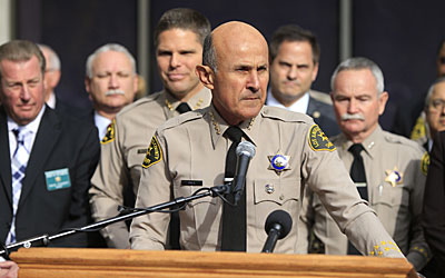 Los Angeles County Sheriff Lee Baca announces that he will not seek a fifth term and will retire at the end of the month.