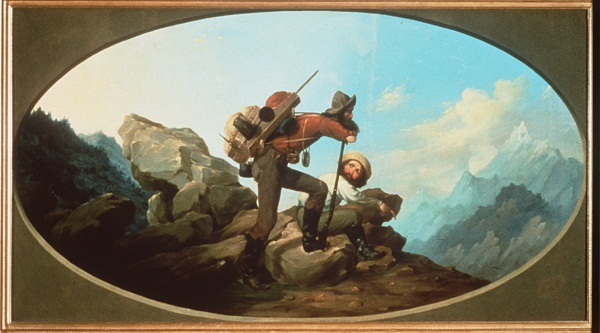 """Mountain Jack and a Wandering Miner,"" a 1850 painting of the California Gold Rush."