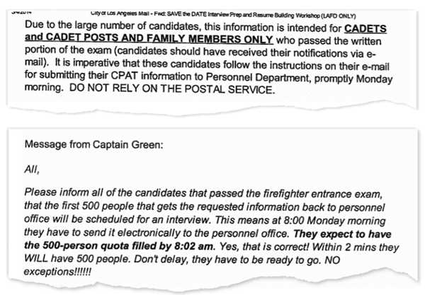 Selections from internal LAFD emails
