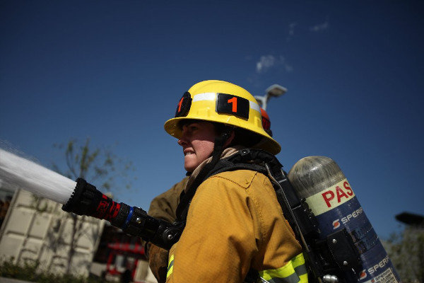 Erica Juergens at the LAFD's training academy in March