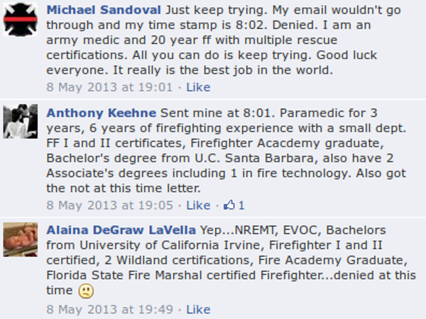 "A selection from the many comments left on the ""Join LAFD"" Facebook page."