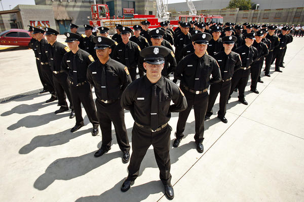 Graduates of the LAFD training academy in Panorama City