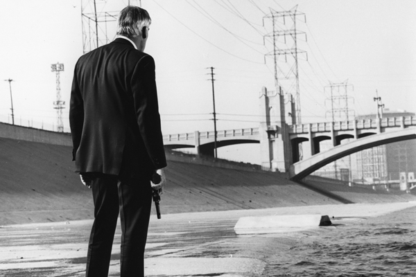 "Lee Marvin during a scene in the 1967 film noir classic ""Point Blank."""
