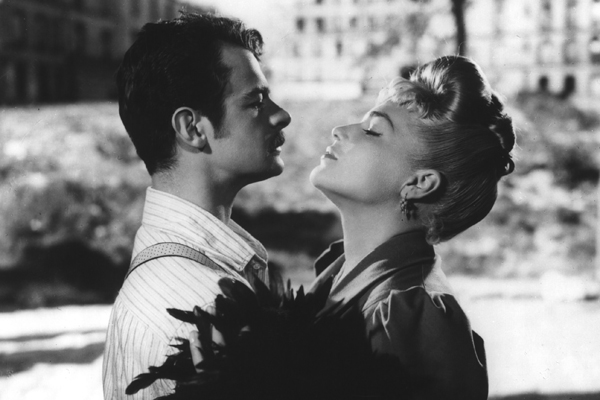 "Serge Reggiani and Simone Signoret in the movie ""Casque D'or."""