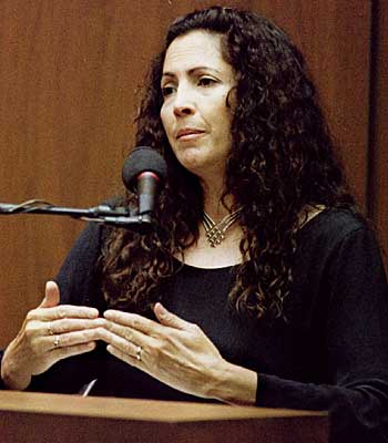 Screenwriter Laura Hart McKinny testifies about interviews she taped with Detective Mark Fuhrman, now retired, during a hearing at O.J. Simpson's murder trial.