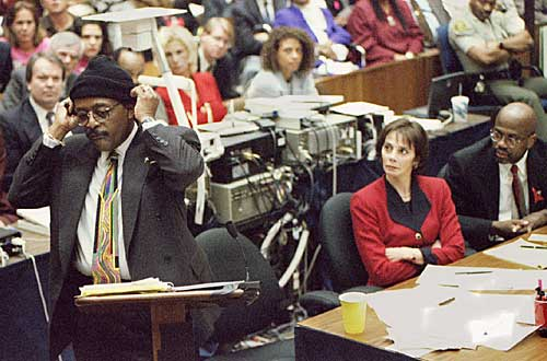 Defense attorney Johnnie Cochran Jr. puts on a knit ski cap as he addresses jurors during closing arguments.
