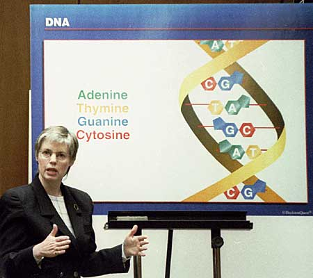 Cellmark Diagnostics lab director Robin Cotton refers to a chart as she explains the concept of DNA to the jury.