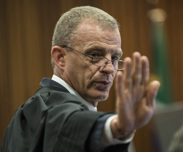 State prosecutor Gerrie Nel gestures in court.