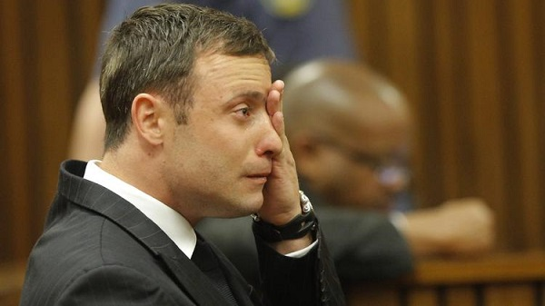 Oscar Pistorius reacts during the reading of the verdict in his murder trial in Pretoria, South Africa, on Sept. 11.