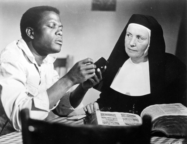 "Sidney Poitier and Lilia Skala in the 1963 movie ""Lilies of the Field."""