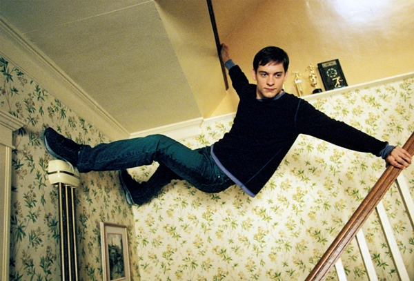 Tobey Maguire starred as Peter Parker in the 2002 Columbia Pictures' action movie Spider-Man.