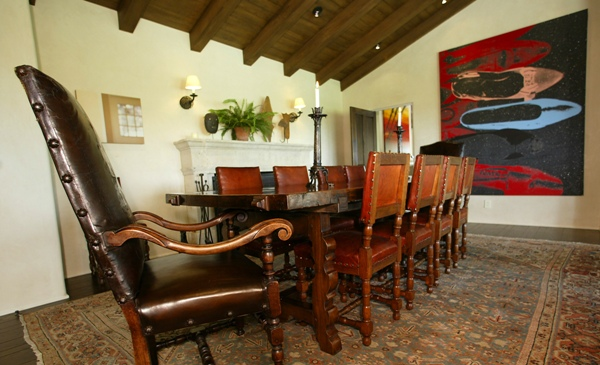 The dinning room of Cliff May ranch home, built for Gregory Peck in the 1950's, in Pacific Palisades.