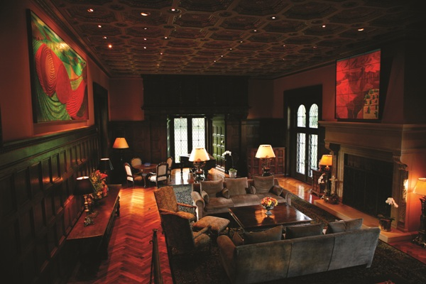 The living room of billionaire Ron Burkle's Greenacres estate in Beverly Hills, built by silent–movie star Harold Lloyd.