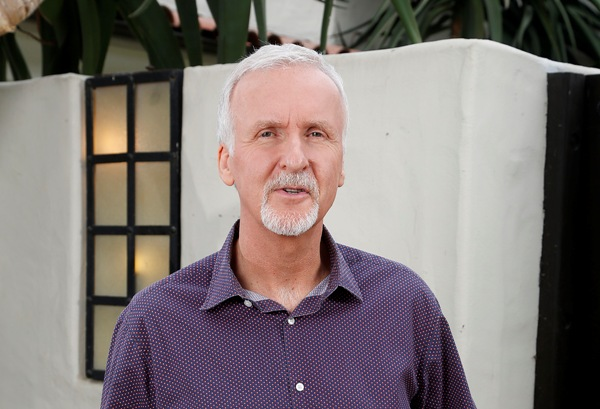 Director James Cameron in front of his Malibu compound.