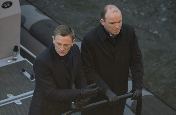 "Daniel Craig, left, and Rory Kinnear film a scene for the movie ""Spectre."""