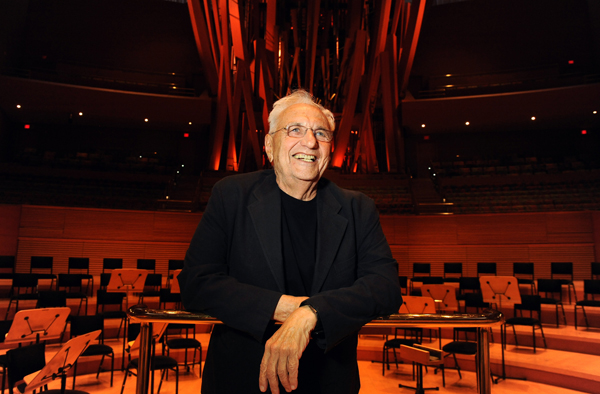 Architect Frank Gehry inside Walt Disney Concert Hall.