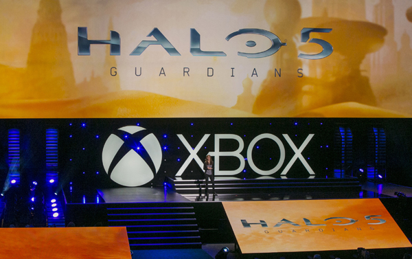 "Bonnie Ross, general manager of 343 Industries, presents ""Halo 5: Guardians"" in June 2014."