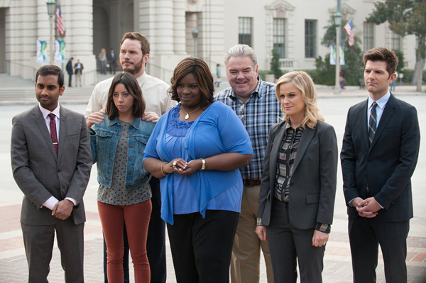 "Aziz Ansari, left, Aubrey Plaza, Chris Pratt, Retta, Jim O'Heir, Amy Poehler and Adam Scott in ""Parks and Recreation."""