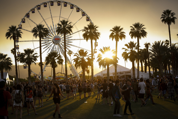 The sun sets during the 2014 Coachella Valley Music and Arts Festival at the Empire Polo Club in Indio.