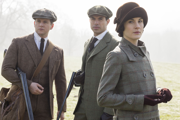 "Allen Leech, left, Tom Cullen and Michelle Dockery in ""Downton Abbey."""