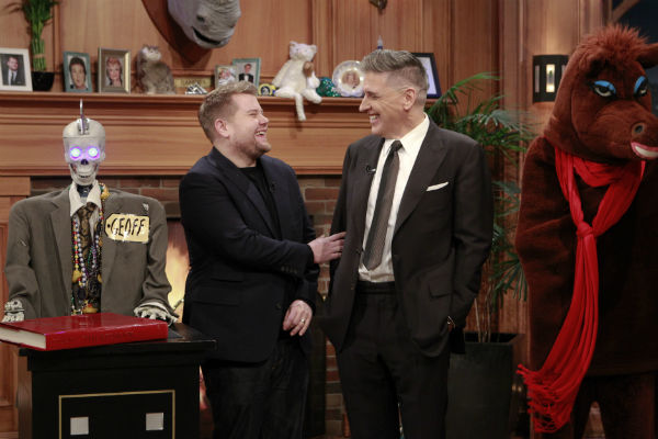 "James Corden, left, with Craig Ferguson on ""The Late Late Show with Craig Ferguson."""